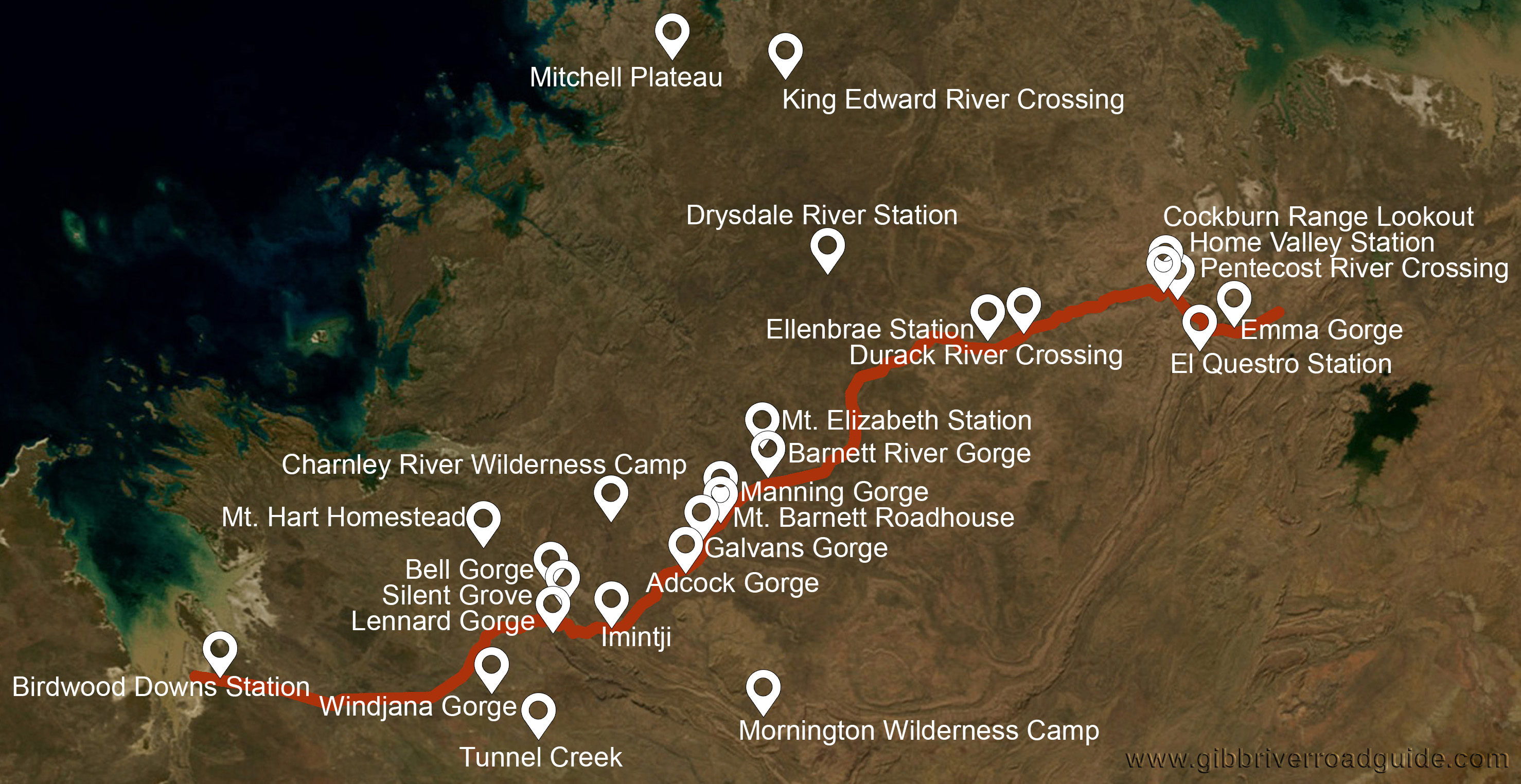 Sights Gibb River Road Guide - River road map
